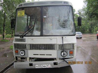 Водитель автобуса сбил дерево и попал в больницу