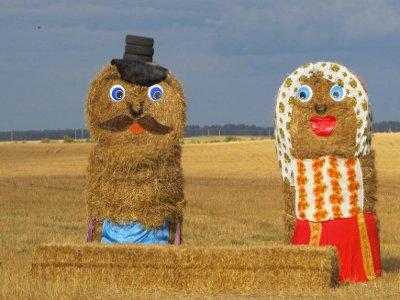 В Смоленской области на полях соорудили забавные фигуры из сена