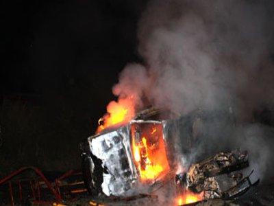 Гаишники достали из горящего авто пытавшегося сбежать от них пьяного шофера