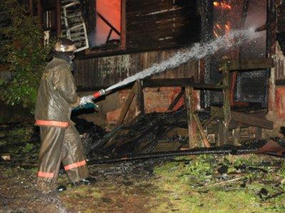 Два человека пострадали на пожаре в деревенском доме