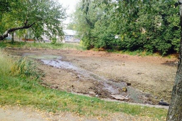 В Смоленске чистят пруд у школы № 27