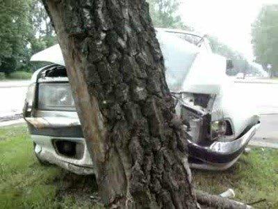 Пара пьяных молодчиков врезалась на угнанной машине в дерево