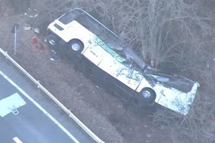 В Японии автобус с туристами упал в кювет