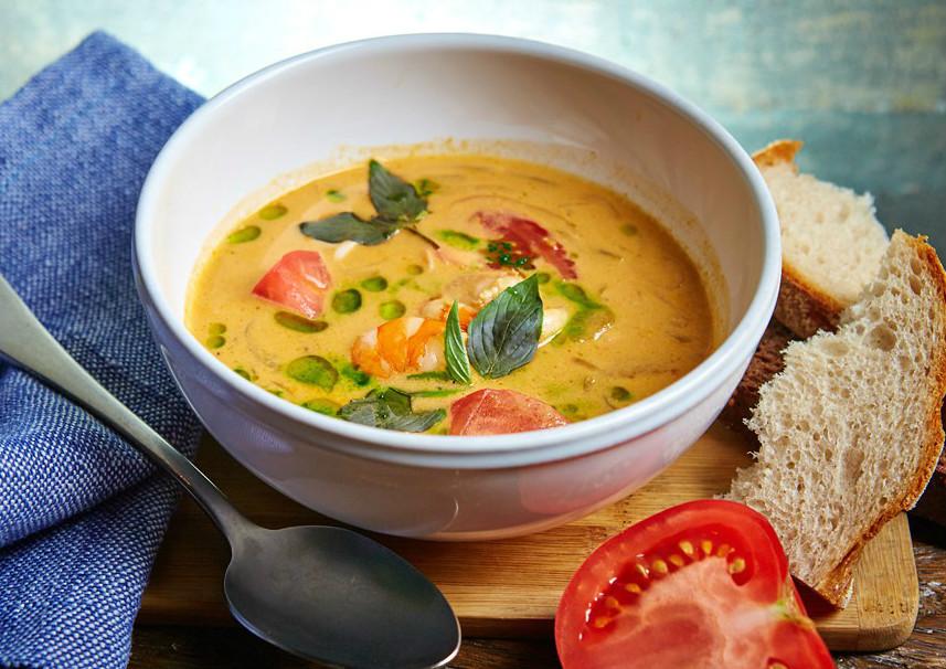 Рецепт. Тайский суп с креветками, приготовленными на гриле