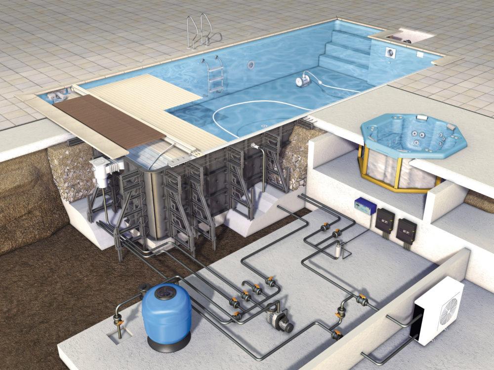 Монтаж дополнительных систем и оборудования в бассейнах