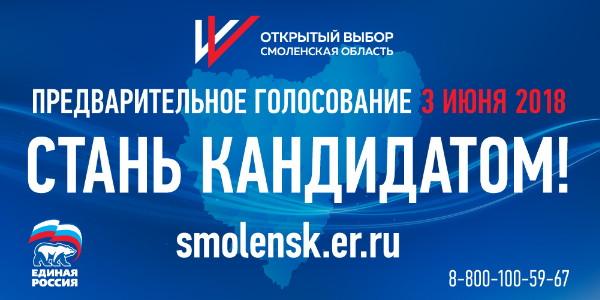 Зарегистрированы первые участники предварительного голосования «Единой России» в Смоленской области