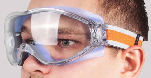 Защитные очки и перчатки на стройке