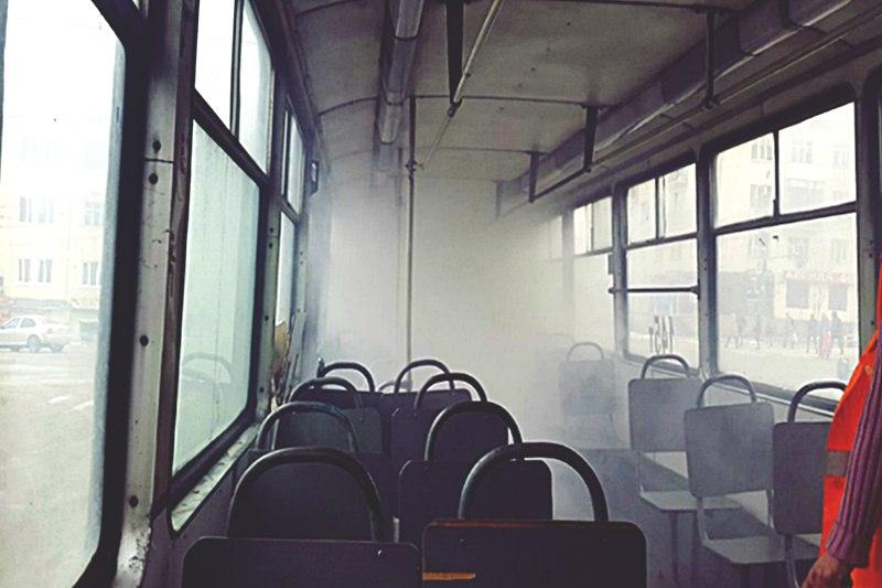 В Смоленске загорелся трамвай