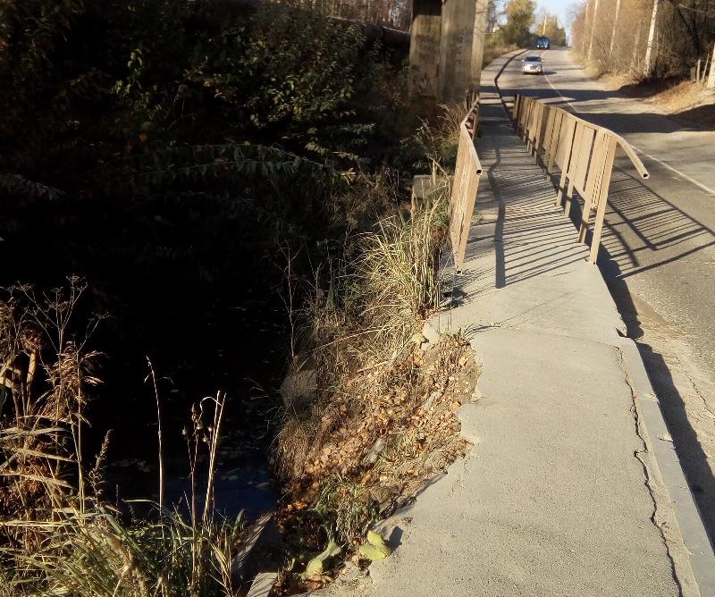 «Обрушился тротуар». Смолянам рассказали об опасном мосте