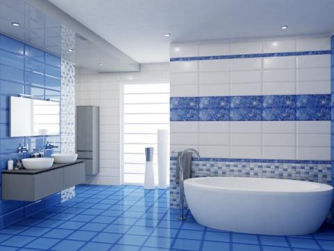 Синяя плитка для ванной: особенности