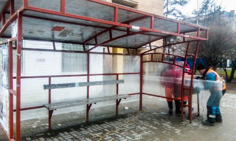 В Смоленске идет ремонт остановок общественного транспорта