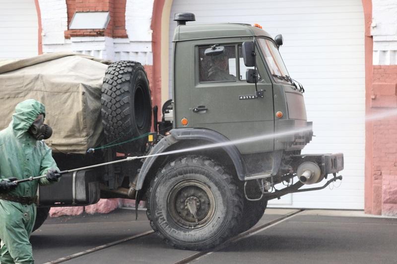 Военнослужащие ЗВО продезинфицировали ряд объектов в Смоленской области