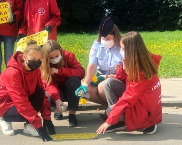 Акцию «Говорящие переходы» провели волонтеры и госавтоинспекторы в Смоленской области